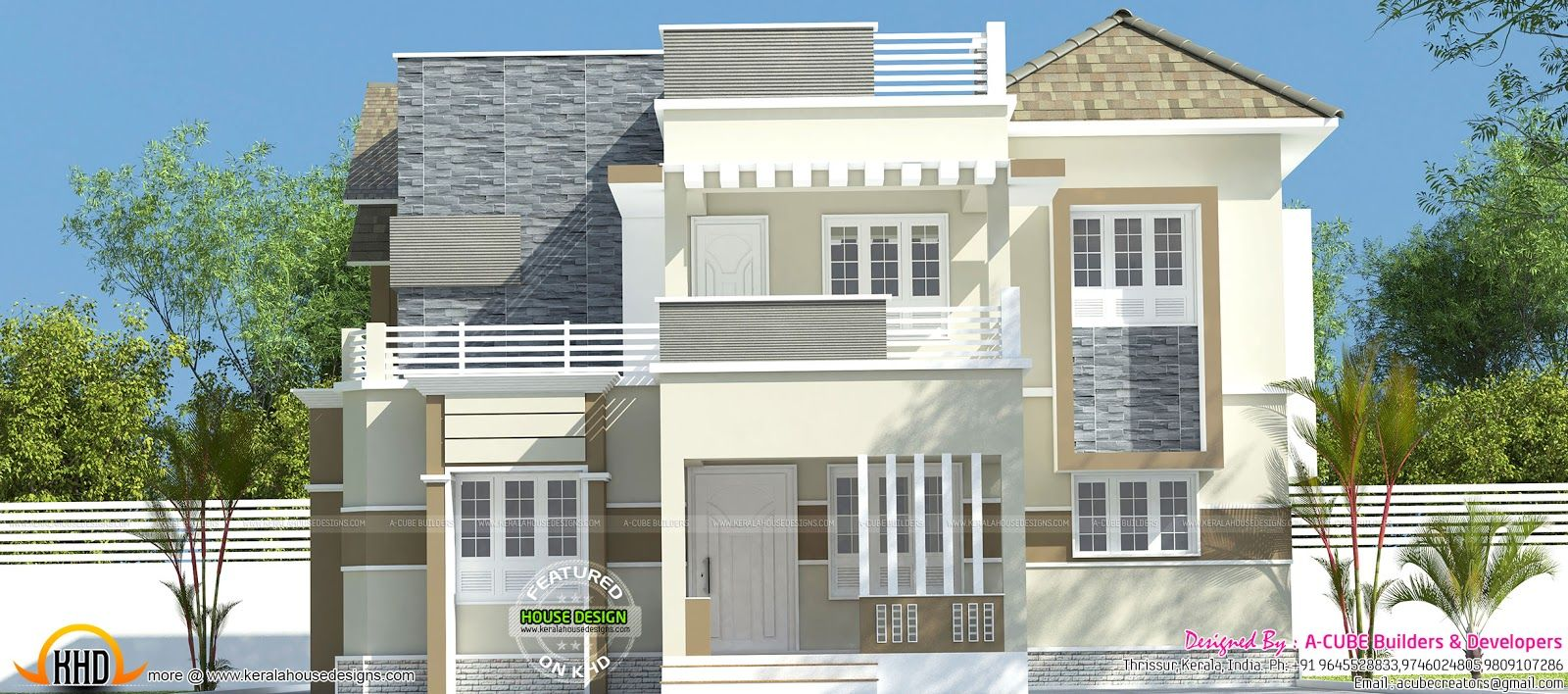 4 Bedroom Mixed Roof Home Part - 34: 4 Bedroom, 2106 Square Feet Mixed Roof House Architecture Plan By A CUBE  Creators, Thrissur, Kerala.