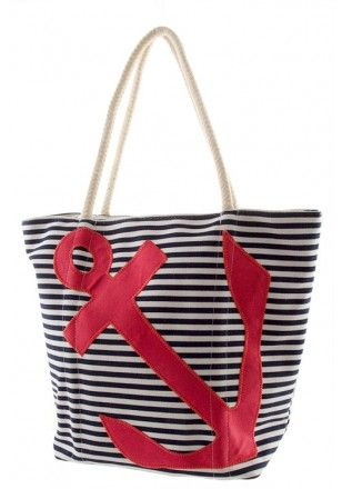 A sailor's delight, this Striped Anchor Stud Tote could be your #nautical touch for your next beach or pool trip! {one other color combination} #SwellCaroline