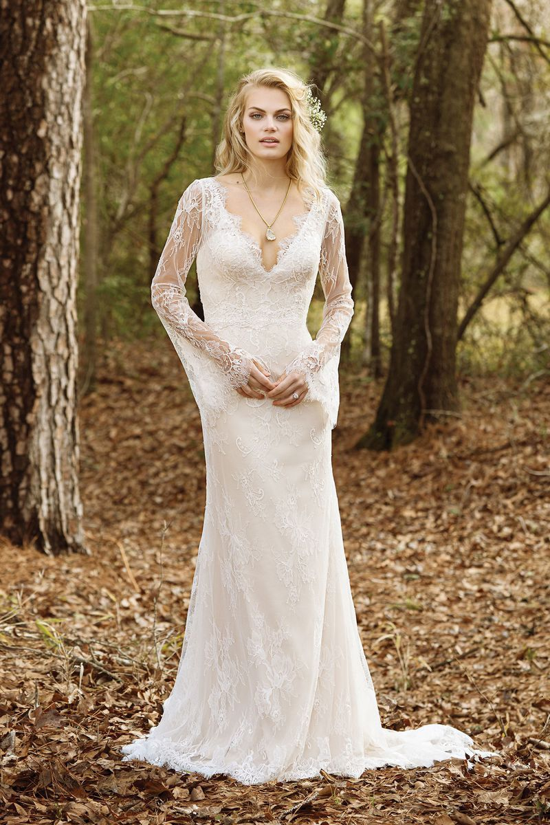 Lillian west style vneck allover lace gown with bell