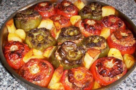 Yemista Greek Stuffed Tomatoes And Peppers Recipe Food Com Recipe Greek Dishes Stuffed Peppers Greek Cooking