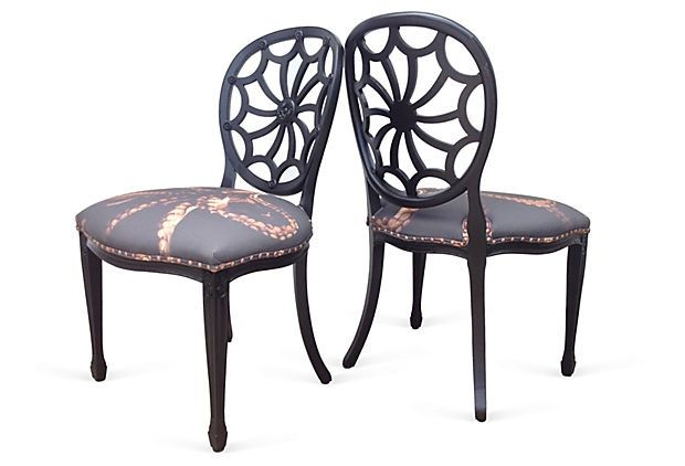 Spider Back Side Chairs. Steampunk Style Chairs. Custom Designed, Custom  Made Octopus Ombre