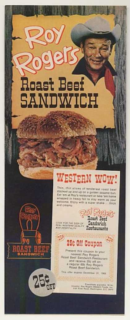 1968 Ad For Roy Rogers Roast Beef Sandwich Restaurant Which Later Became Arby S