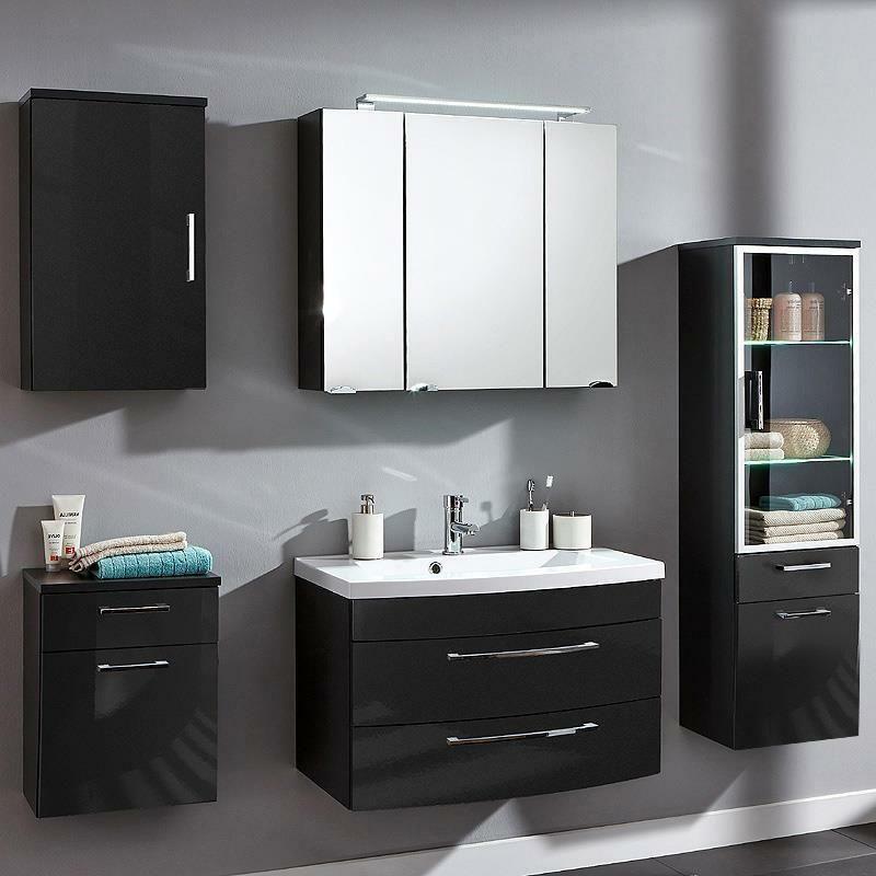 Badezimmer Badmobel Set 80cm Waschtisch Led Spiegelschrank Hochschrank Hochglanz In 2020 Badezimmer Set Spiegelschrank Badmobel Set