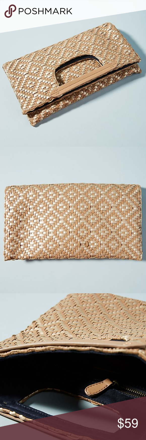 9107f7f6f3 NWT ANTHROPOLOGIE Cara Woven Foldover Clutch Brand new with tags NWT  ANTHROPOLOGIE Deux Lux Cara Woven
