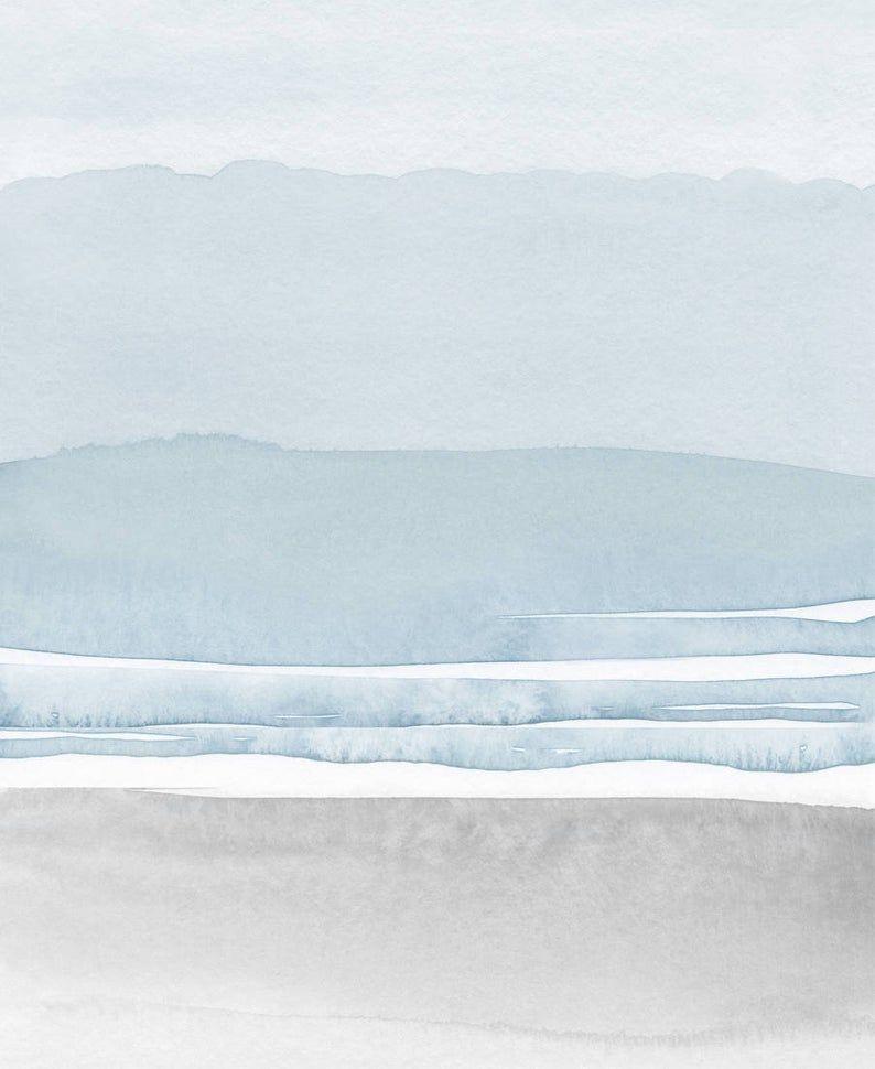 Bleu Gris Aquarelle Impression Imprimer L Art Abstrait Art Mural