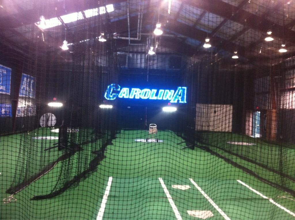 Unc baseball indoor batting cage diamond heels baseball for Design indoor baseball facility