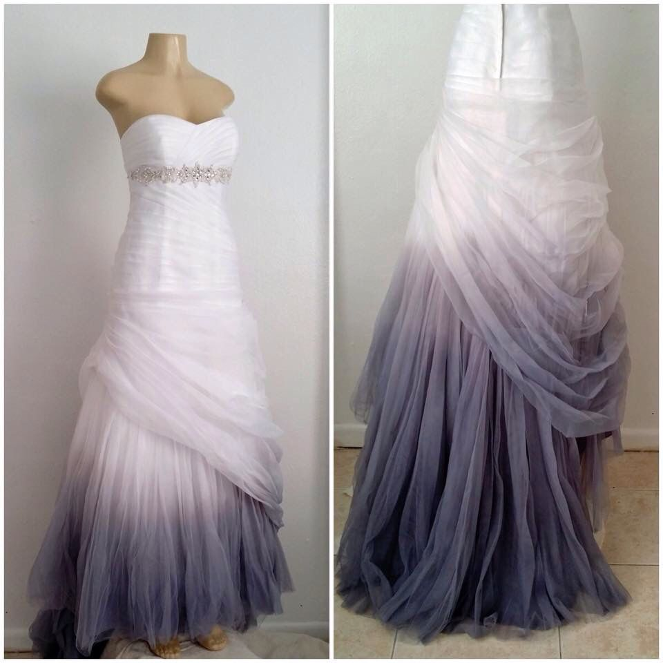 This gown was hand dyed to create this pearl gray ombre effect by