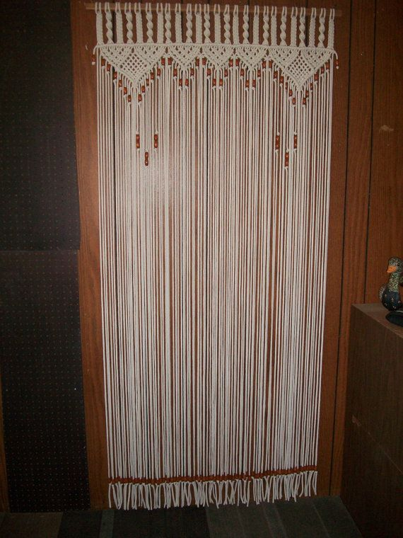 Cortina en macrame grano con flecos cortina de puerta con tie ...