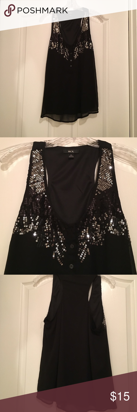 Racer back BCX Black racer back BCX. Black and sliver sequins. Perfect for a night out! $15 OBO BCX Tops Tank Tops