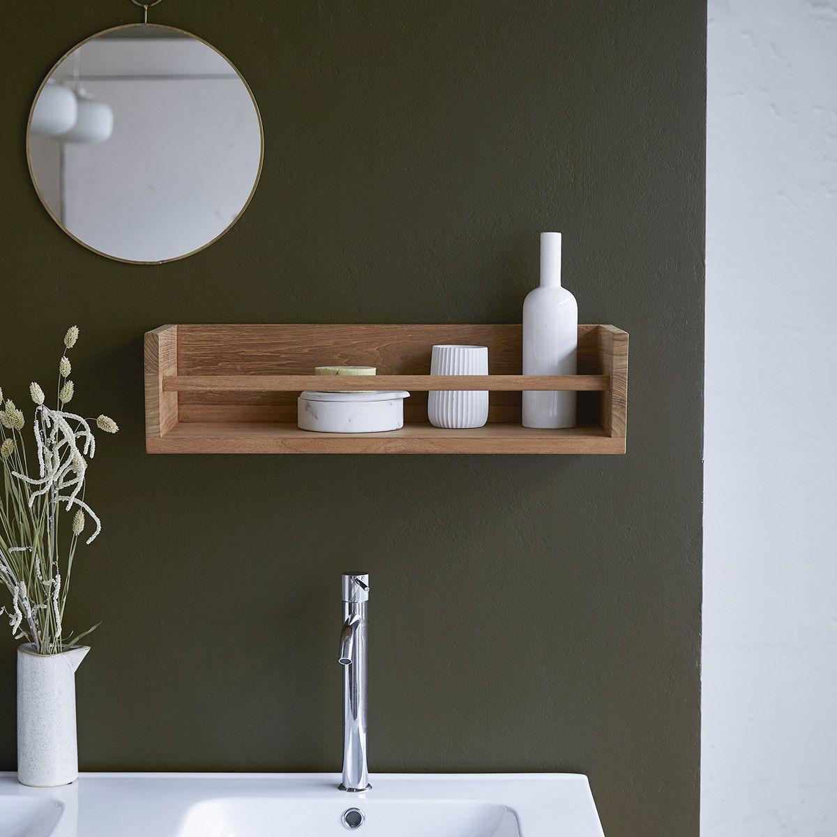 Ugo Teak Wood Bathroom Wall Shelf 60 In 2020 Teak Bathroom Wall
