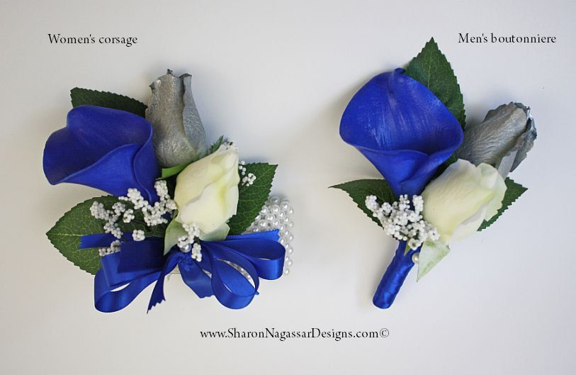 Corsage Or Boutonniere Royal Blue White Silver Grey Calla Lily
