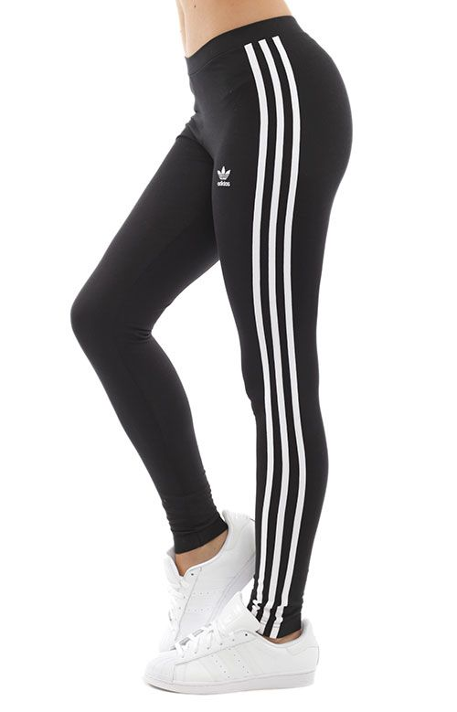 541b62bbfd3e08 Thumbnail 1 Striped Leggings, Black Leggings, Adidas Women, Street Wear