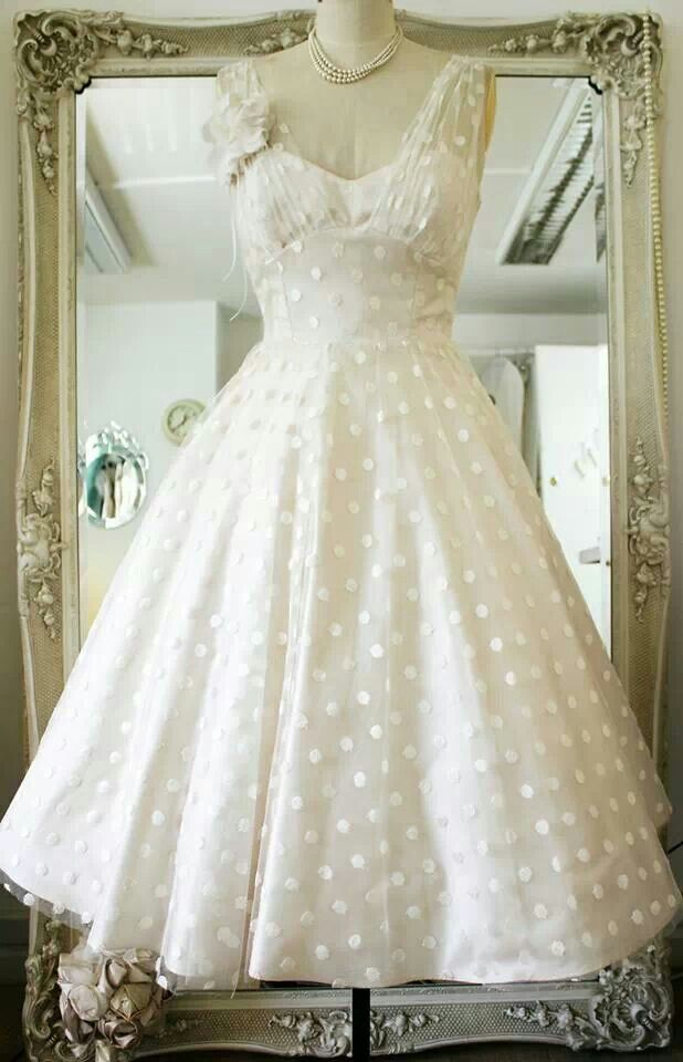 Vintage Polka Dots Tea Length Wedding Dress Polka Dot Wedding Dress Tea Length Tea Length Wedding Dress Backless Wedding Dress