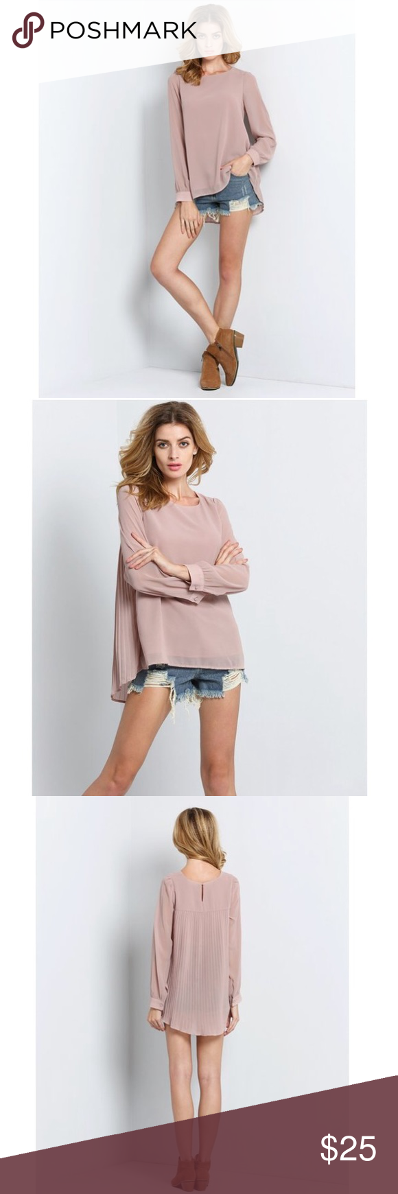 Nude Long Sleeve Pleated Back Blouse Women's Nude Long Sleeve Pleated Back Blouse (M, Nude) Urban Outfitters Tops Blouses