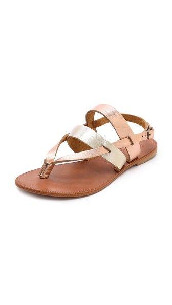 1c3fb06b84acb7 Joie A La Plage Positano Metallic Flat Sandals Metallic Flats