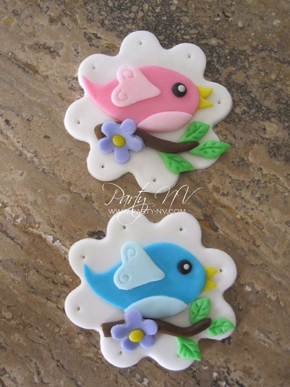 EDIBLE Fondant Toppers Birdies on a Branch by PartyNV on Etsy