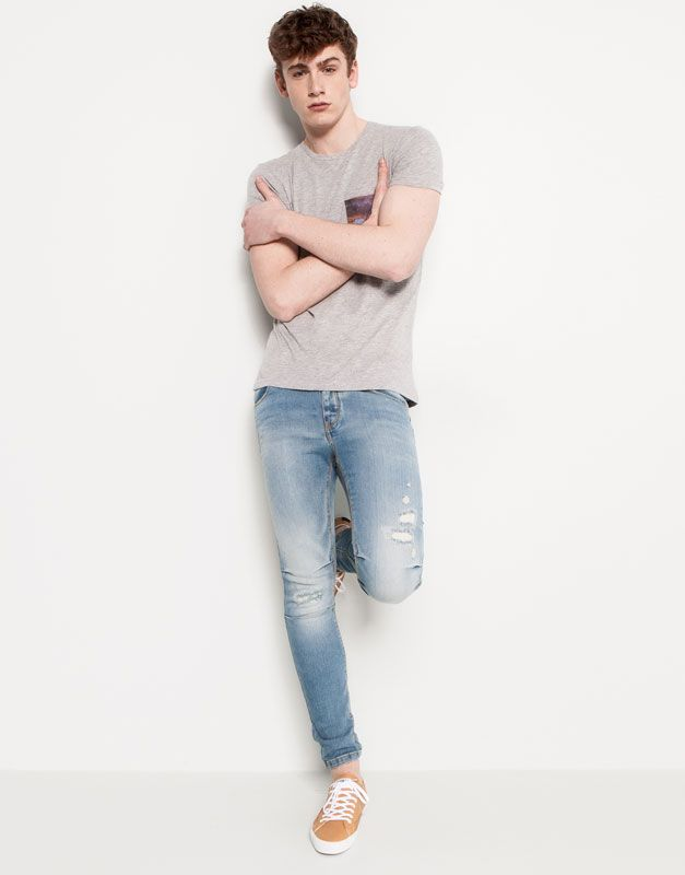 Jeans Skinny Fit Pull And Bear Skinny Jeans Men Denim Fashion Mens Outfits Skinny Jeans Men