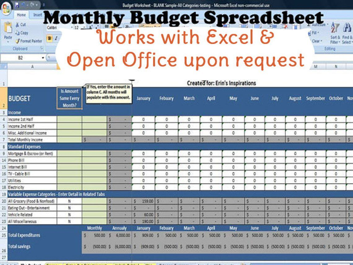 Monthly Budget Spreadsheet Home Finance Management Excel