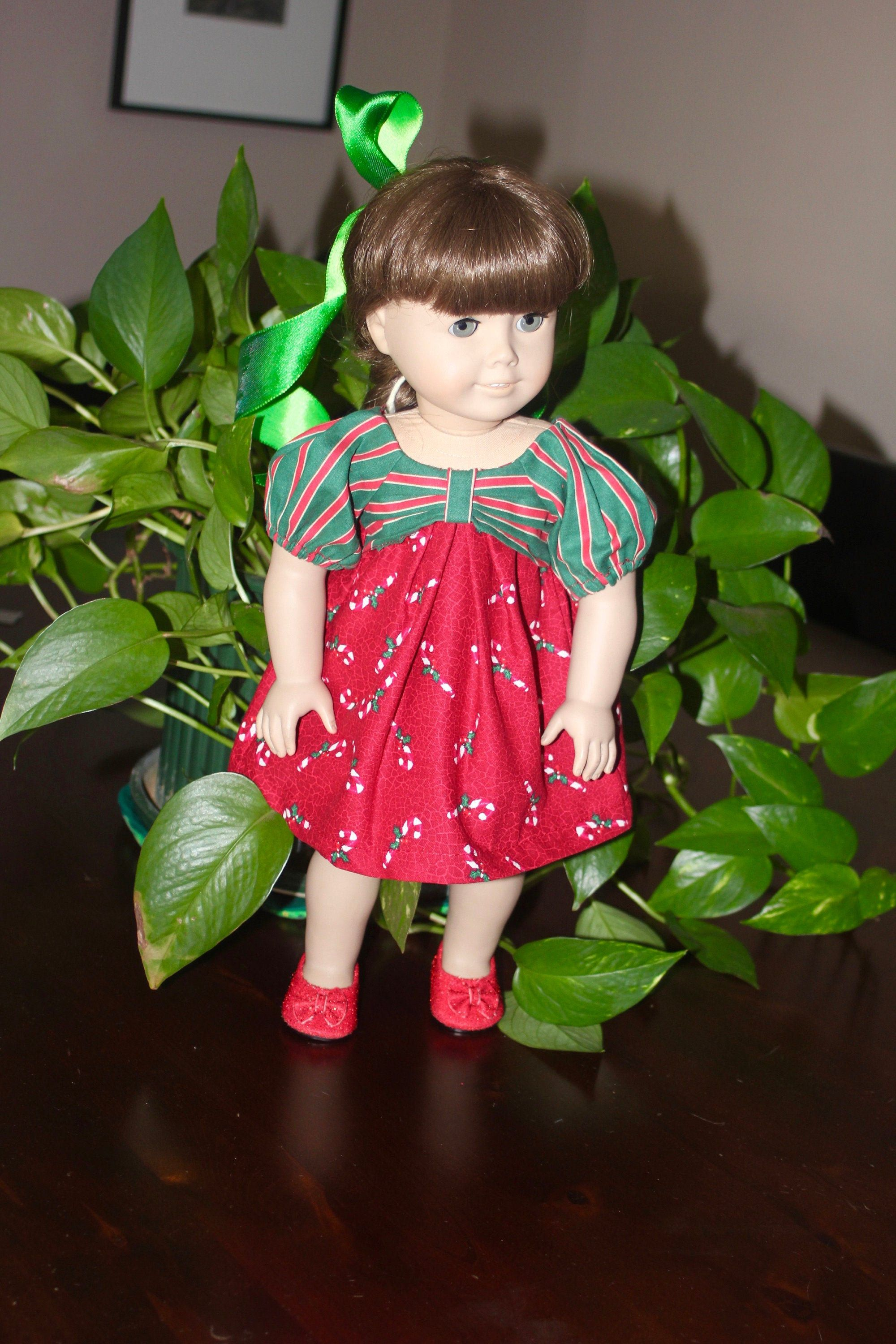 Free Shipping Bow Front Christmas Doll Dress, Lovely Candy Cane Dress fits 18 Inch Dolls, Toys, Doll Dress #dolldresspatterns