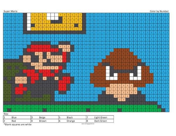 Megapixel Characters Coloring Squared Mario Coloring