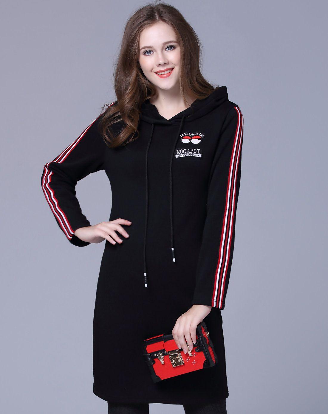 Adorewe vipme shift dresses ochanal black cartoon hoodie fleece