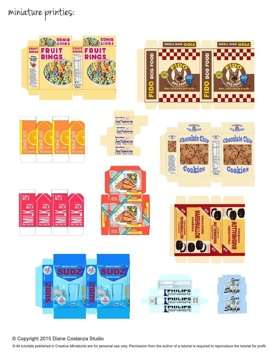картинки для кукольного домика распечатать еда
