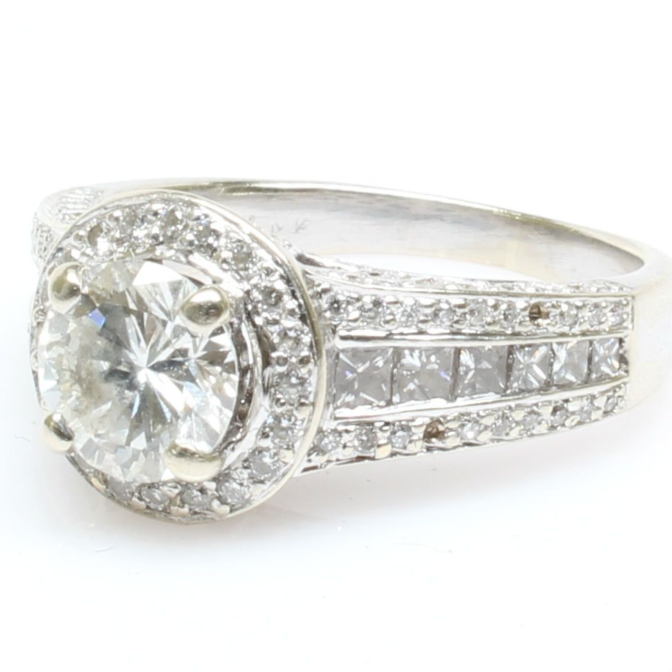 165 Ctw Round Diamond Halo Engagement Ring : Find Out More At Http: