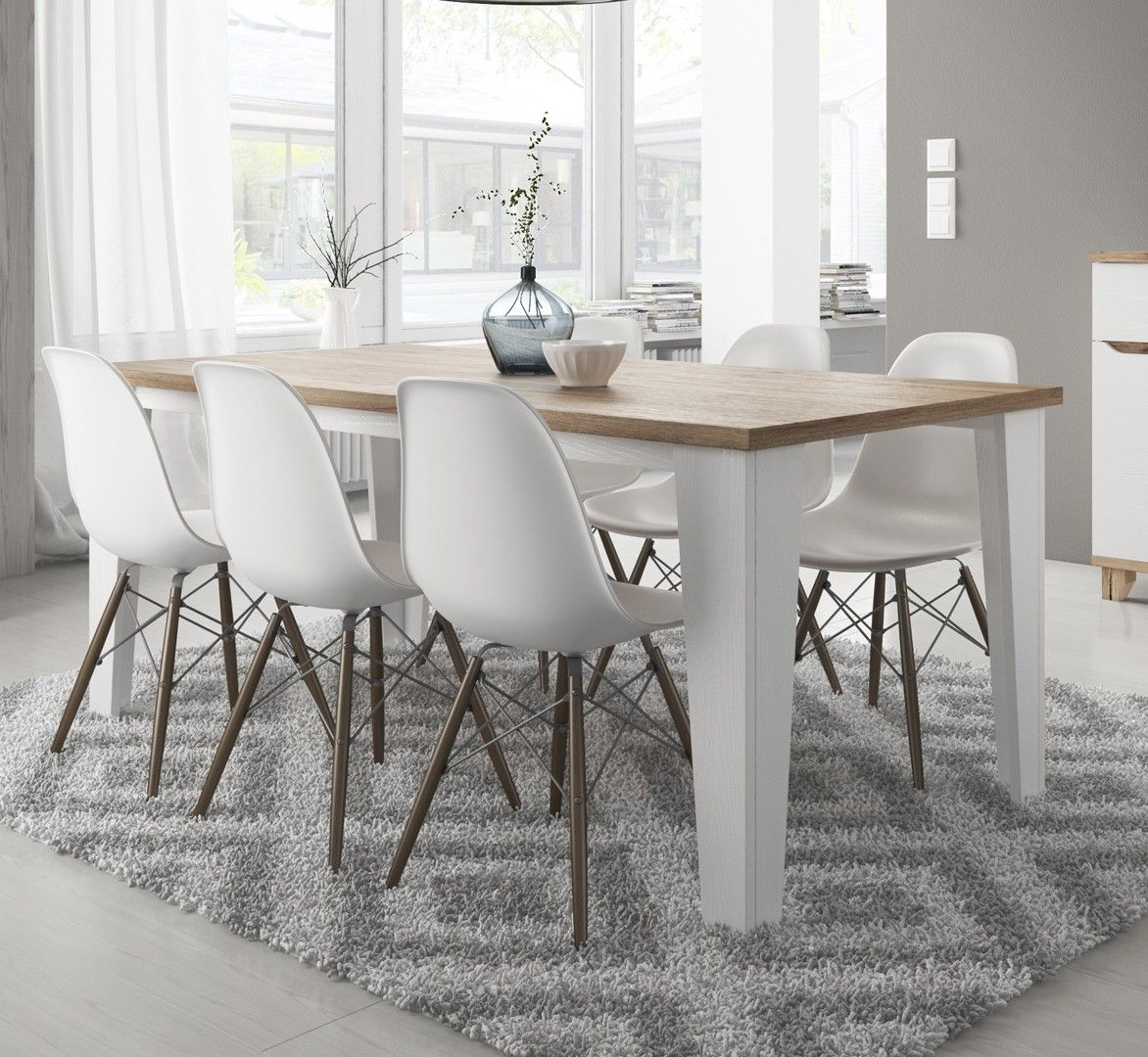 Table de salle manger contemporaine ch ne blanc vein mat melanie table de salle manger - Table de salle a manger contemporaine ...