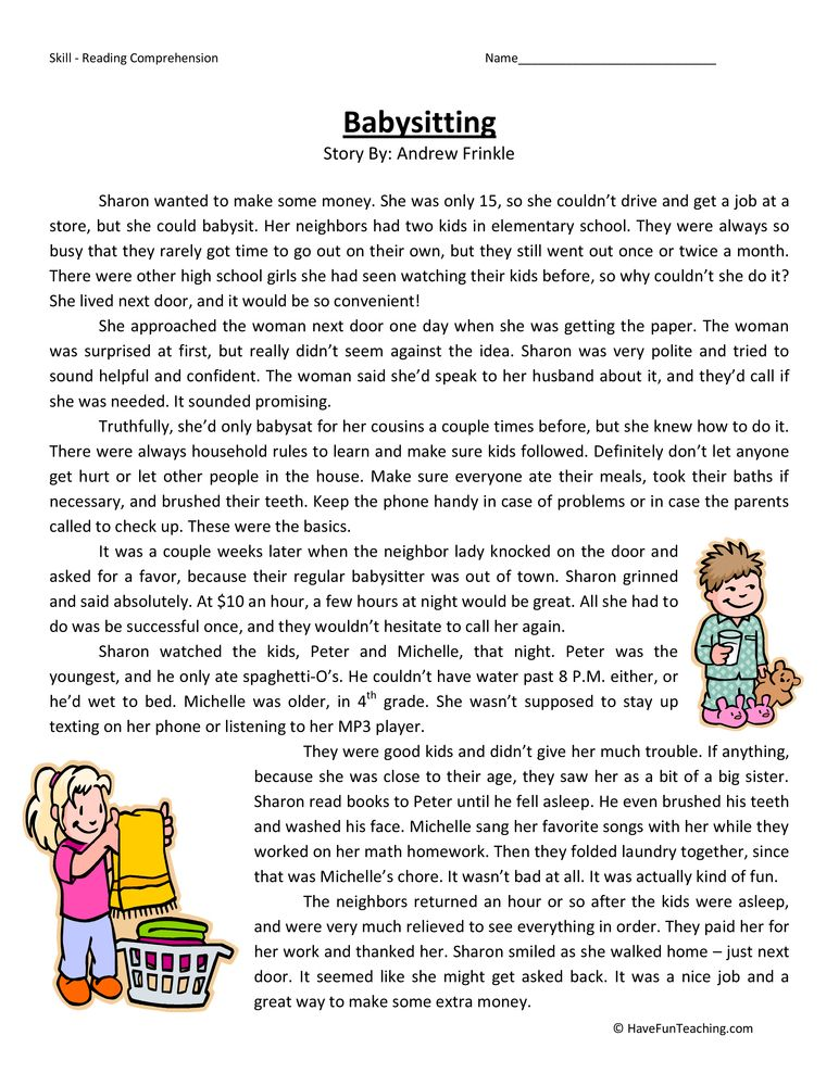 Babysitting Fourth Grade Reading Comprehension Test Esl