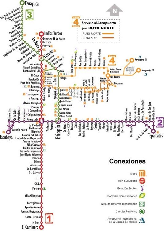 Metro Bus Map, Mexico City