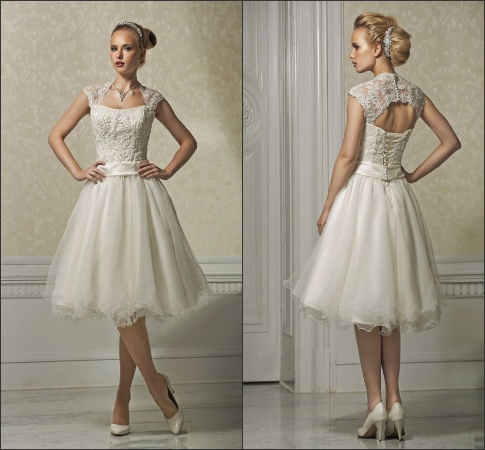 Cap-sleeve-knee-length-short-wedding-dresses- | Knee Length ...
