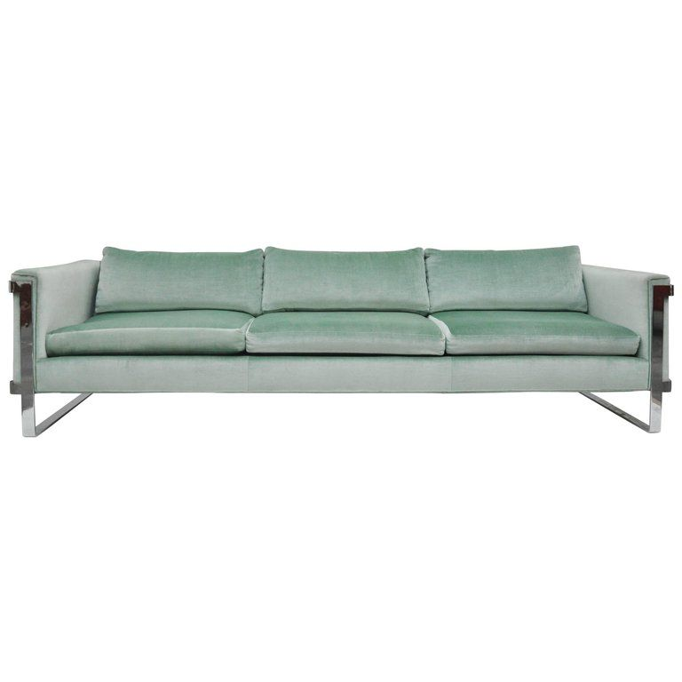 Flat Bar Milo Baughman Sofa From A Unique Collection Of Antique