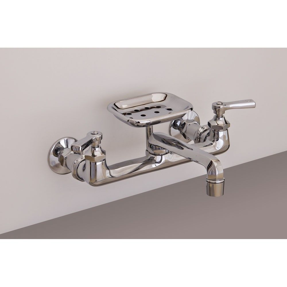 Wall Mount Kitchen Faucet With Swivel Spout And Soap Dish 8 Inch