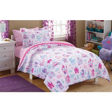 Mainstays Kids Pretty Princess Bed In A Bag Bedding Set Walmart Com Princess Bed Full Bedding Sets Princess Bedding Set
