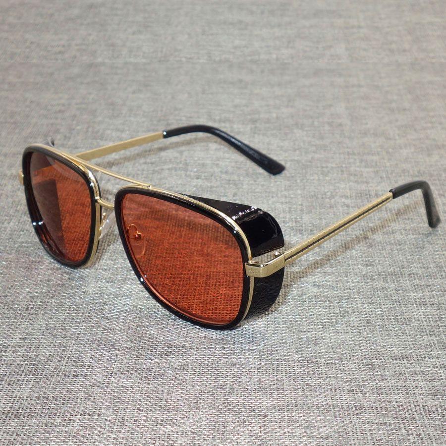 Tony Stark Iron Man Sunglasses Men Luxury Brand Vintage Ironman Eyewear Mirror