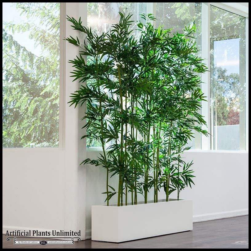 Indoor Artificial Bamboo In Modern Planter Saksıda