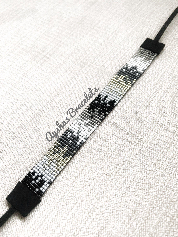White Black Grey and Silver Miyuki Bracelet / Beaded Bracelet / Minimalist Style / Miyuki Bead Bracelet / M #beads