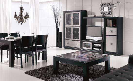 Mueble de sal n fabricado en excelentes acabados que - Muebles de salon negros ...