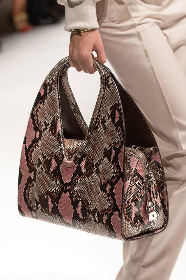 303e6eb87e7e Think Pink  Ferragamo SS14 runway collection hand-painted python bag ...