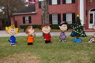 well its never boring around here charlie brown christmas yard art