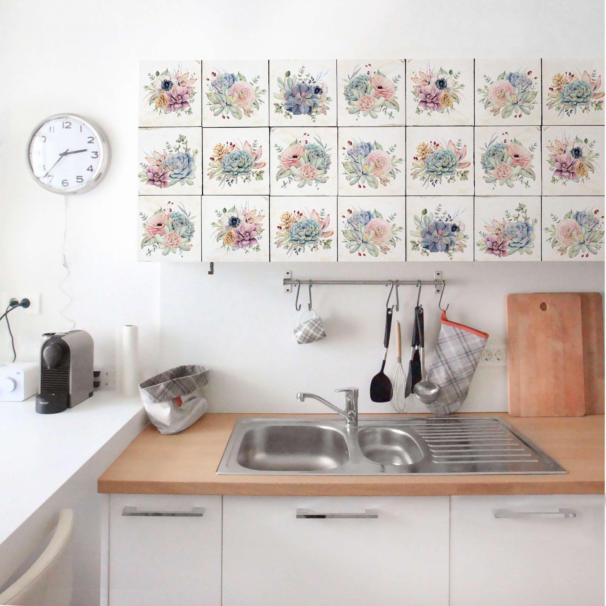 Carta Adesiva per Mobili - Watercolor Flower Cottage nel ...