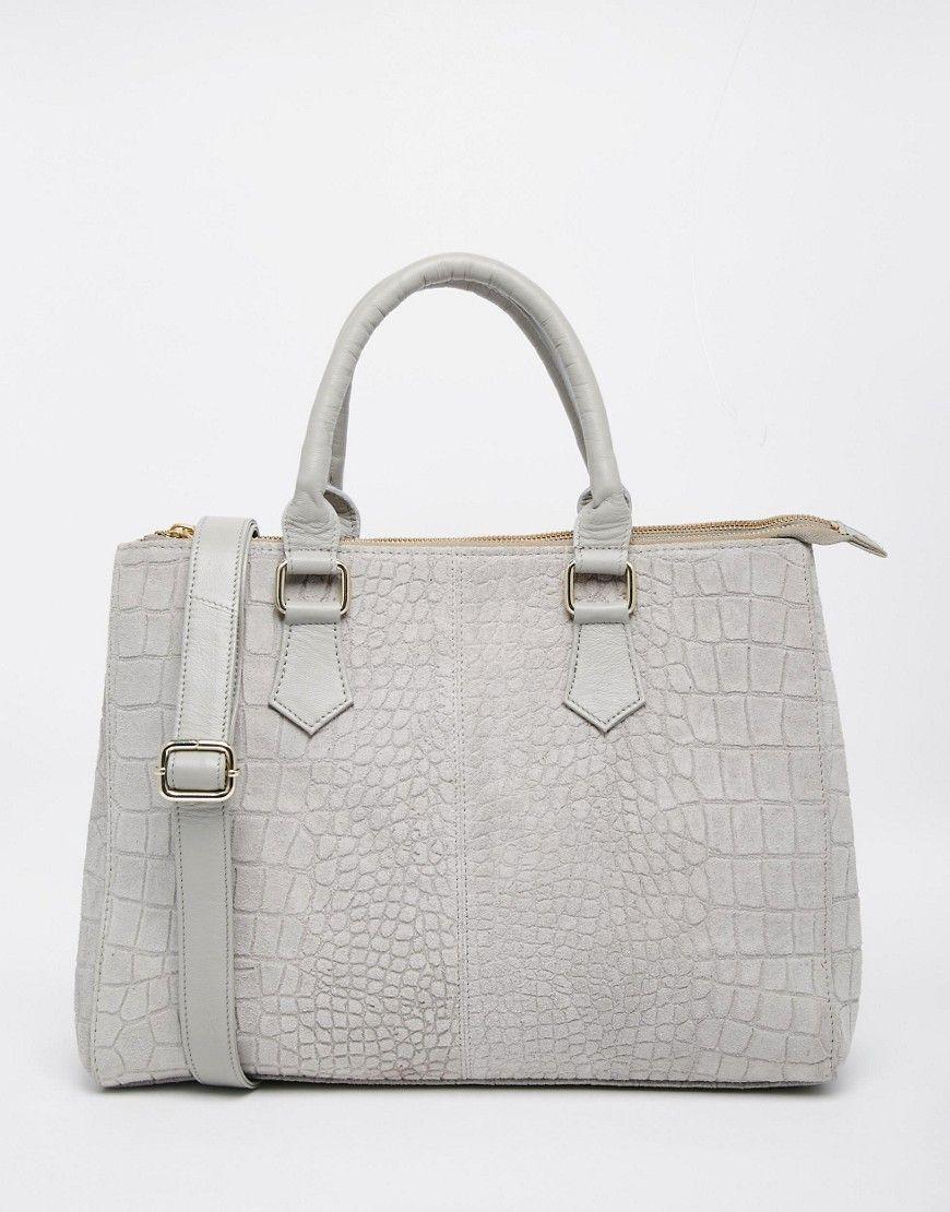 Image 1 of ASOS Croc Embossed Suede Tote Bag Suede tote