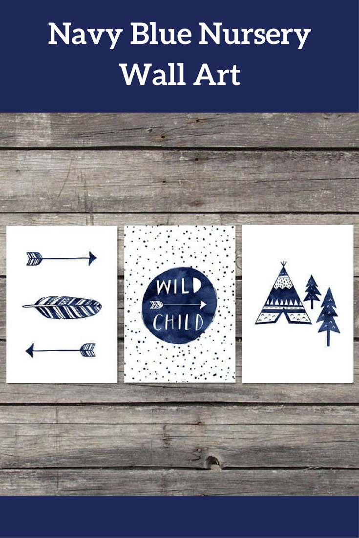 Navy blue nursery wall art perfect for gifts for little boys this