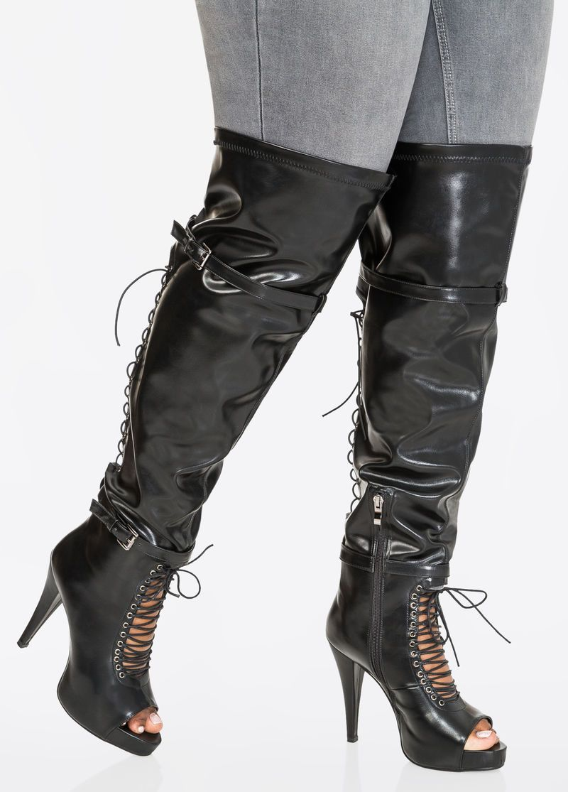 2bb816b5aa0 Lace-Up Over The Knee Boot - Wide Calf