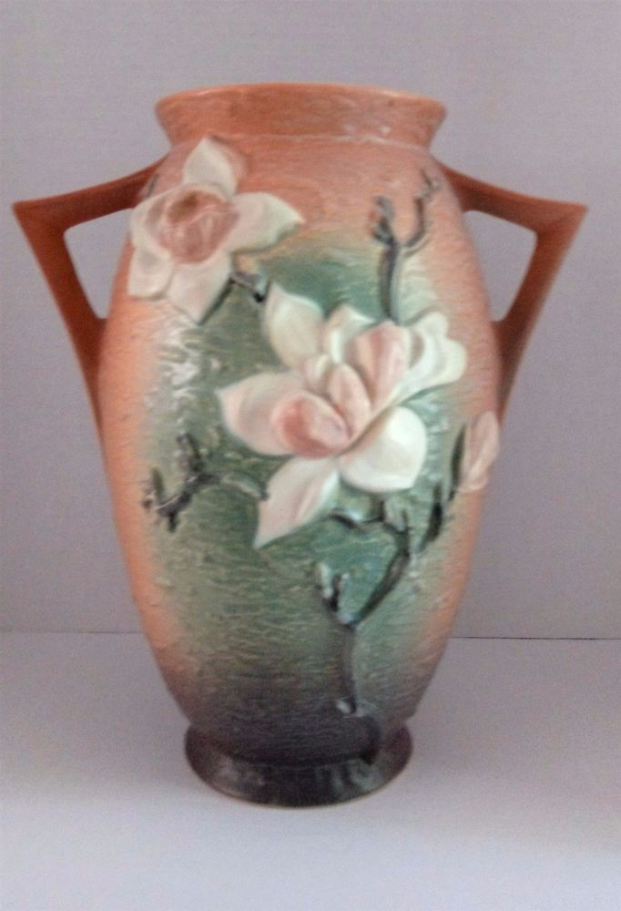 Roseville Usa Pottery 96 12 Magnolia Vase Urn 12 Browns Greens