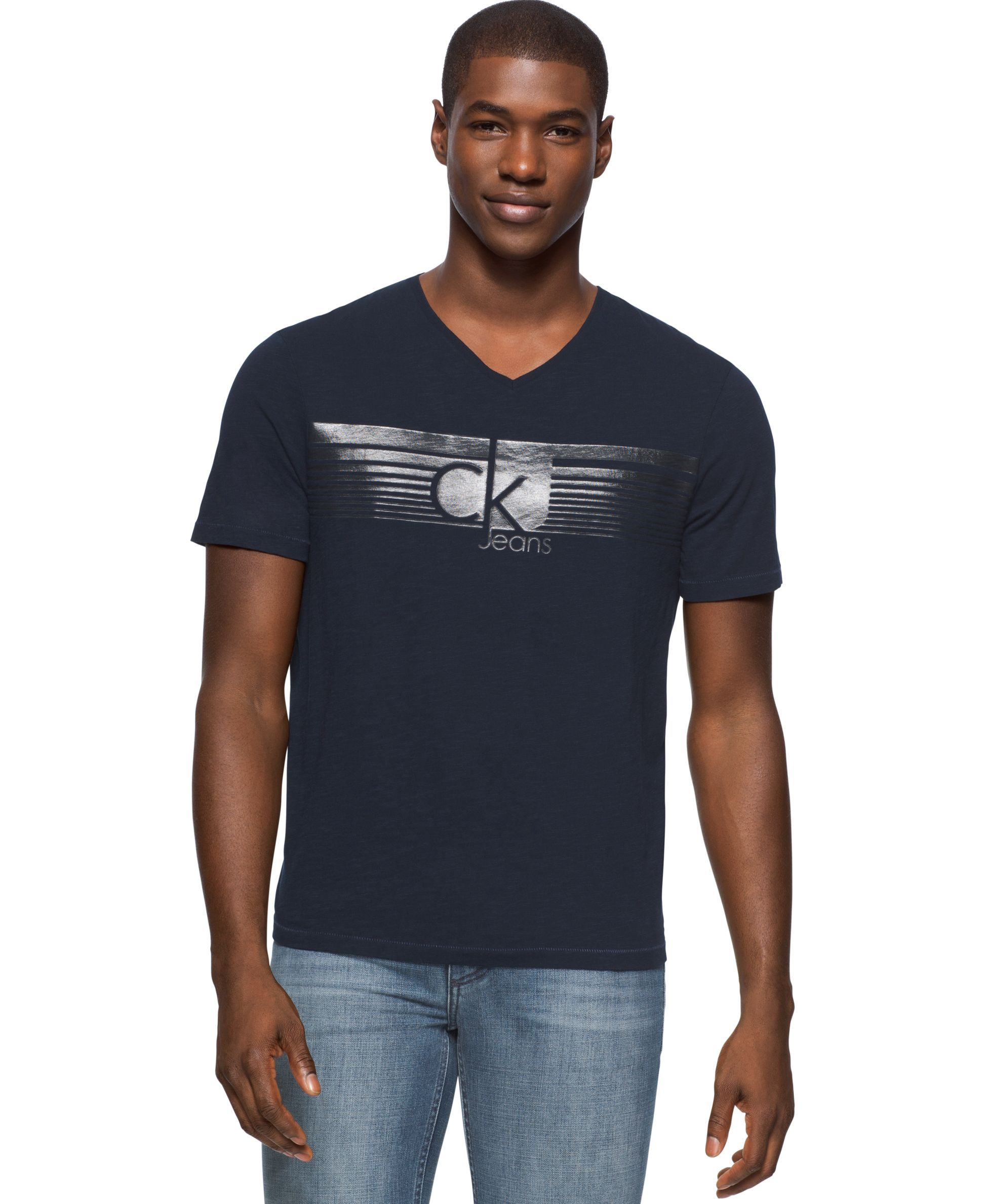 Calvin Klein Jeans Men S Lined Ckj Graphic Print Logo V Neck T Shirt Mens Jeans Calvin Klein Jeans Mens Tshirts