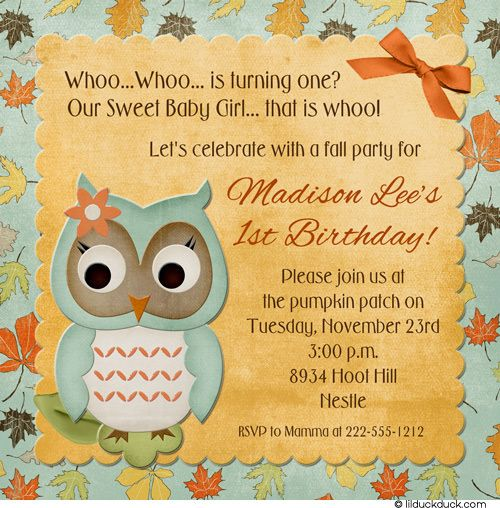 Forest owl fall birthday invitation sweet leaves flower 1st birthday party ideas in fall forest owl fall birthday invitation sweet leaves flower filmwisefo