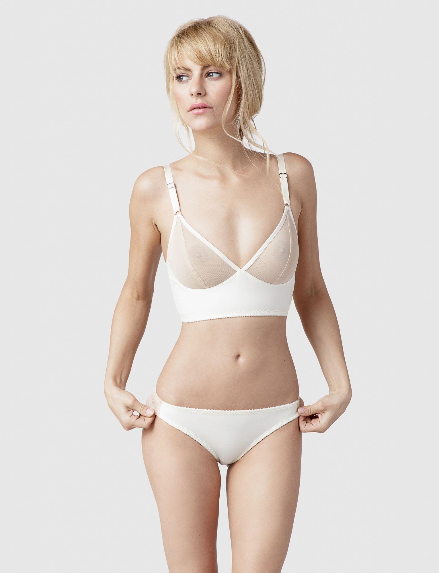 7fa4dce14d79e Luna Longline & Seamless Bikini, Champagne & Ivory, Fortnight Lingerie,  #SS17