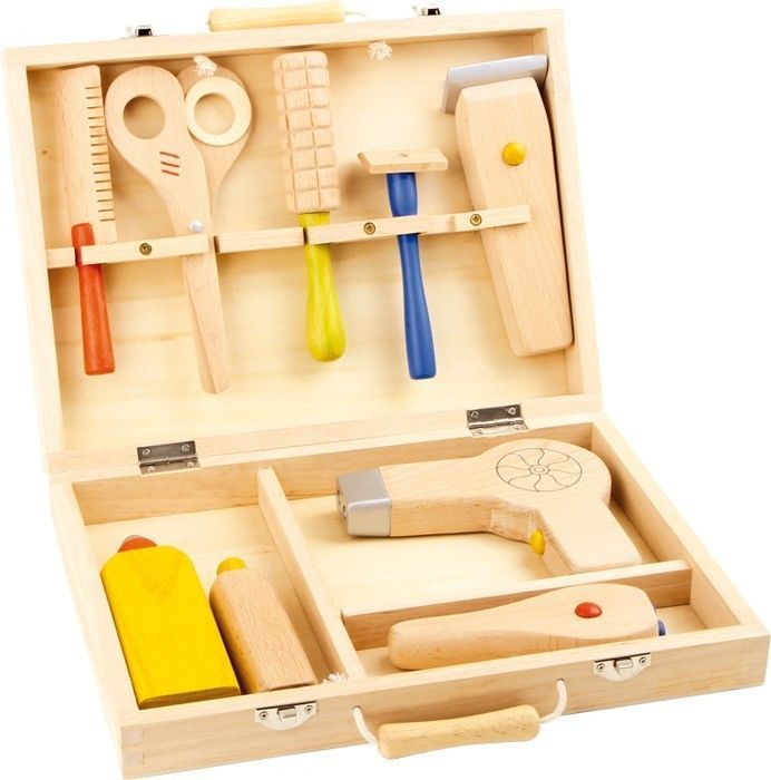 Wooden Hairdresser Case Set Beauty Salon Role Play Toy