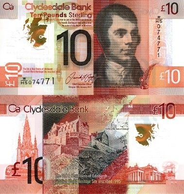 Scottish Bank Note Scotland Clydesdale Bank Plc 10 Pounds 25 01